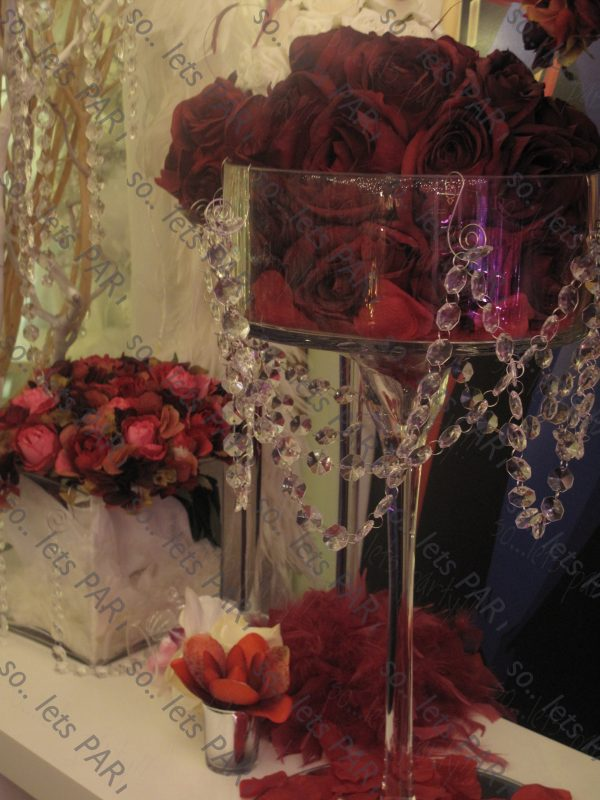 faux floral table decoration