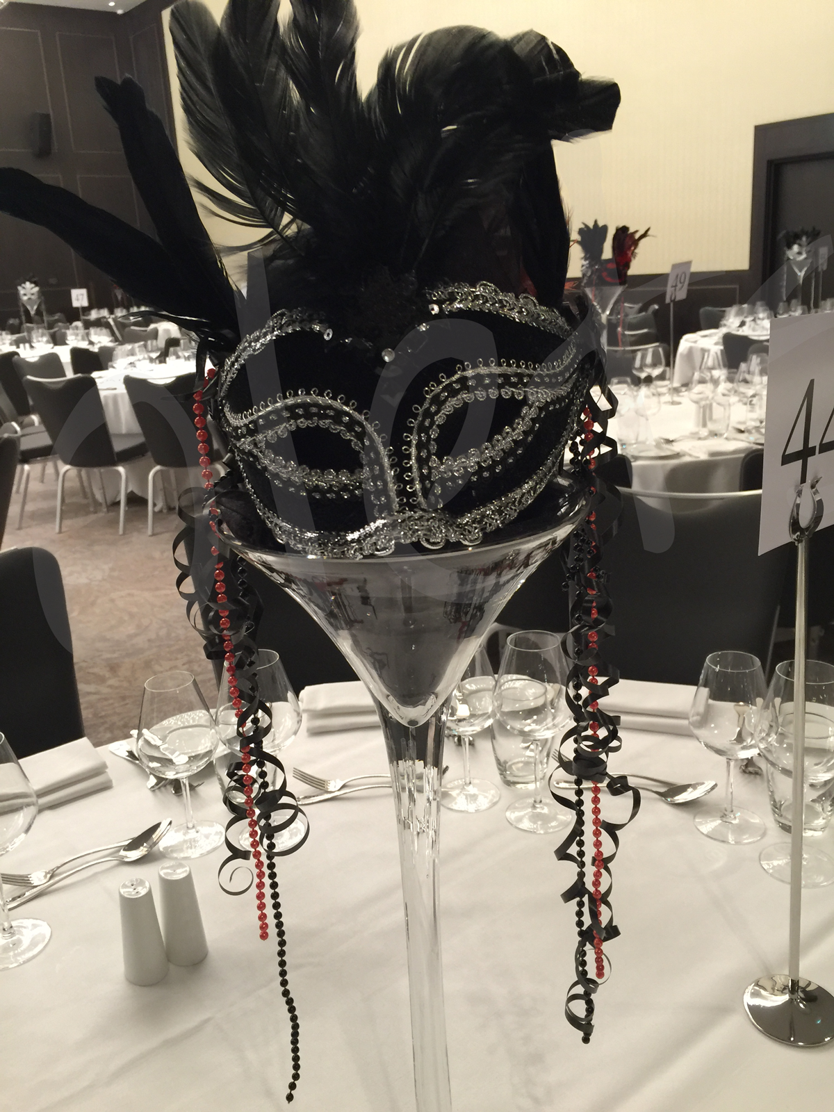 Masquerade table decoration hire so lets party for Black table centrepieces