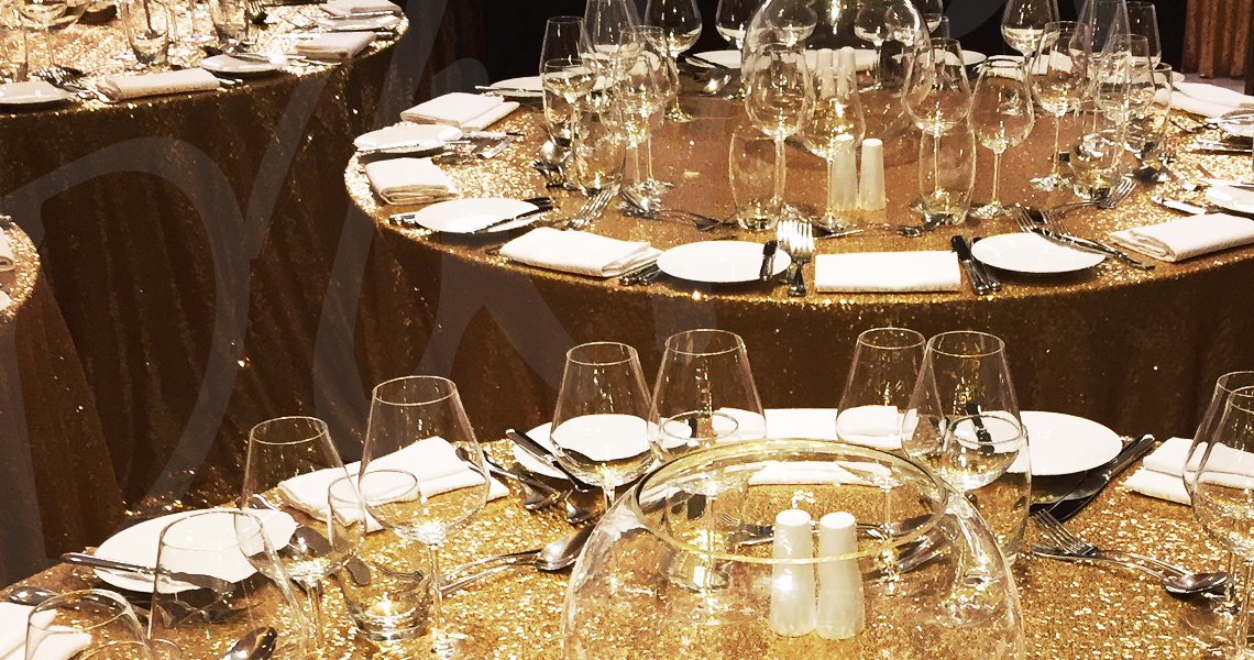 gold glitter tables