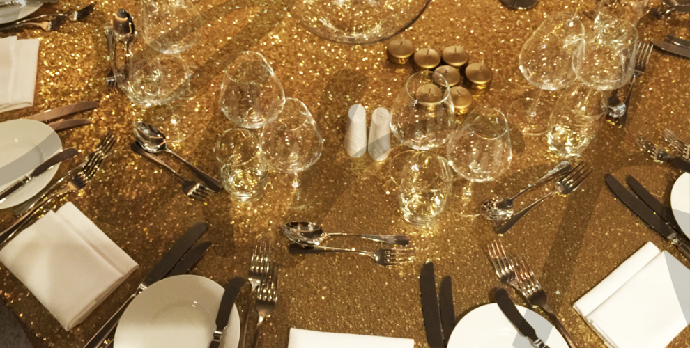 gold glitter table